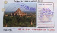 Entrance ticket for Bagan Archaeological Zone in Myanmar.