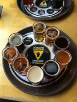 Beer sampler at Grizzly Paw Brewery