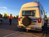 Camper Dan is towed outside Calgary, Alberta, Canada.