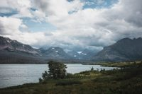 Wild Goose Island in the distant. Glacier National Park, Montana, United States.