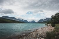 The shore outside the Many Glacier Hotel, Glacier National Park, Montana, United States.