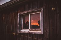 Sunset reflecting in the barn windows. So perfect.