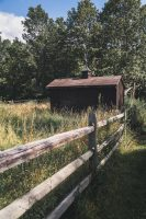 The barn near the entrance to the property.