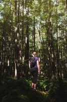 Hiking at Lyman Run State Park.