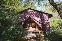 One of the platform tents for your farm stay at Stony Creek Farmstead.