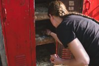 Collect fresh laid eggs for breakfast from the unique antique locker hen house.