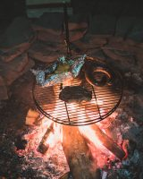We cooked a campfire dinner of local kielbasa, steak, and potatoes. Yum!