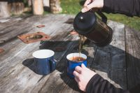 Coffee always tastes better when enjoyed outdoors.