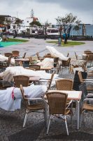The wind and rain toppled outside seating in Porto Moniz.