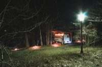 The Scotty camper looks so nice lit up at night. Enjoy the evenings on this peaceful property.