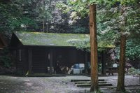 Cabins at Robert H. Treman State Park in Ithaca, NY.