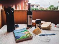 Enjoying a picnic lunch at Hotel Daniel, Olbia.