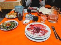 One of many dinner courses at Rifugio Gorropu