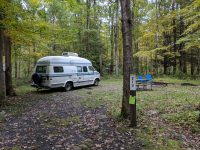 Camping at Steam Mill campground in Stokes State Forest, New Jersey.