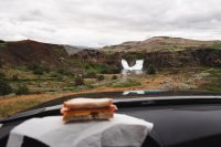 A picnic lunch at Hjalparfoss