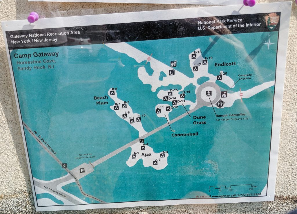 Sandy Hook campground map