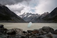Balanced iceberg. Hooker Valley Track, Aoraki/Mount Cook National Park
