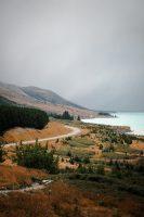 Driving towards Aoraki/Mt Cook National Park alongside Lake Pukaki